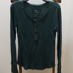 Eddie Bauer green waffle shirt with small snaps.